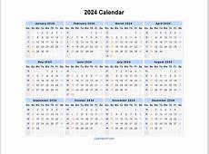 2024 Calendar Blank Printable Calendar Template in PDF