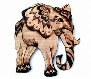 Elephant wall art wood wall hanging pyrography by for Elephant wall art
