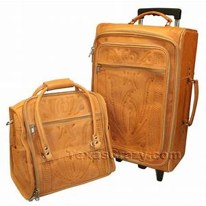 Buy Womens Tan Tooled Leather Luggage Set