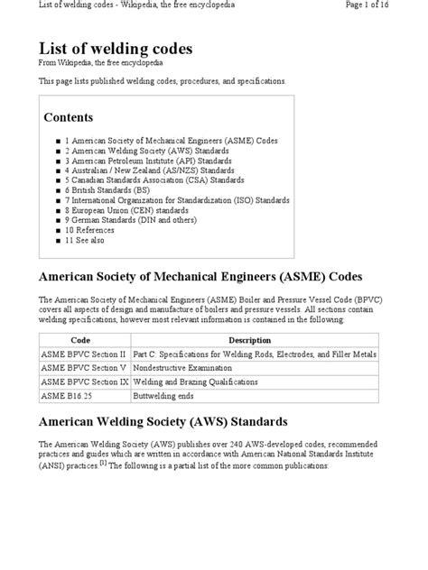 AWS List of Welding Codes | Welding | Steel
