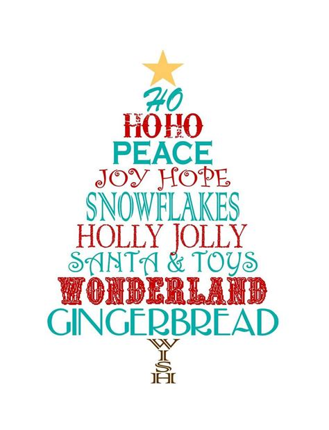christmas tree decorated whith words just style free word tree printable