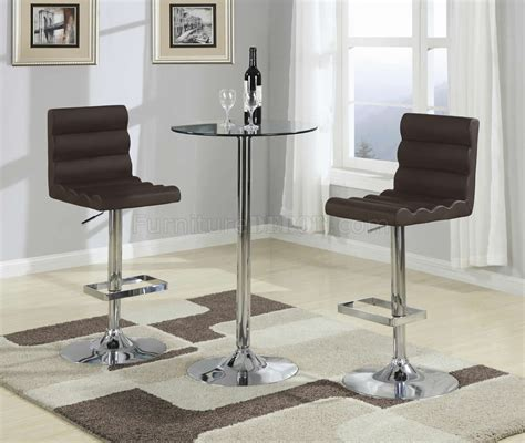 The Bar Table by Tempered Glass Top Chrome Metal Base Modern 3pc