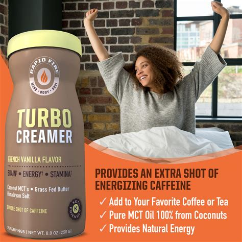 Rapid fire keto coffee — supercharge your morning! Rapid fire Turbo Creamer, French Vanilla Flavor with Shot of Caffeine, Coconut MCTs, Grass Fed ...