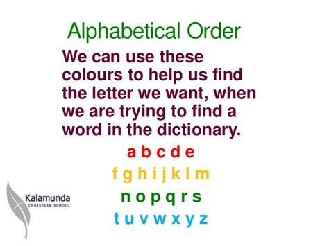 Once you have your list in the order that best fits your needs, you may want to add numbers, letters or some other preface to it. Alphabetical order 2 ppt tg 2012