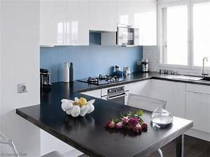 idee deco cuisine blanche et bleu cuisine blanche murs With idee deco jardin terrasse 7 deco cuisine blanche