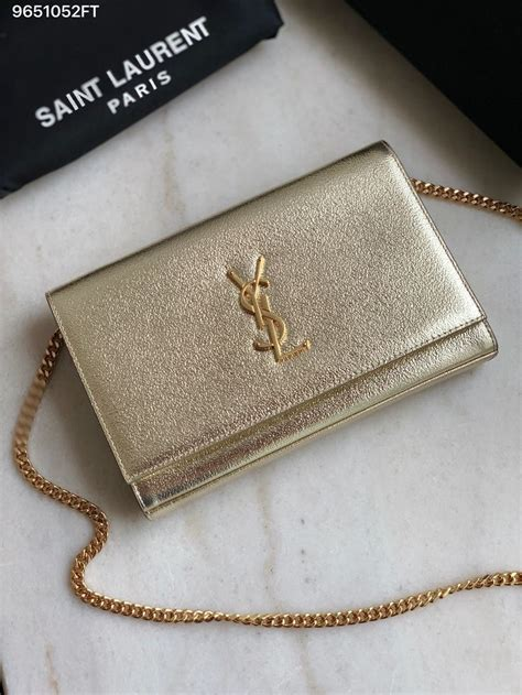 ysl saint laurent slp kate chain clutch bag  winkled leather gold gold clutch bag gold bag