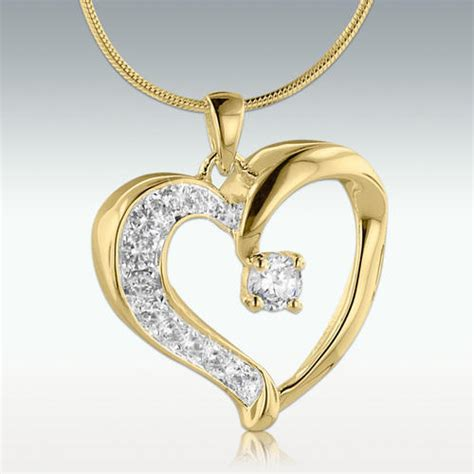 resplendent heart solid  gold cremation jewelry engravable