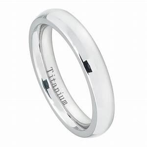 Men39s 4mm Titanium Wedding Band White Titanium Classic