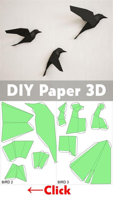 diy paper birds  wall  papercraft easy paper model