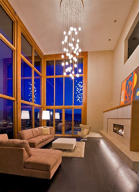 elobarate cascading chandelier in living room with high