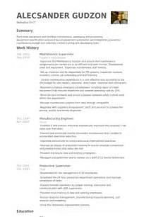 objective for resume maintenance supervisor maintenance supervisor resume sles visualcv resume sles database