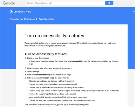 setting  accessibility features  chromebook paths