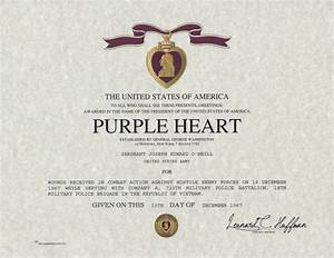 Purple heart certificate purple heart medal replacement for Purple heart citation template