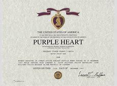 Purple Heart Medal Certificate
