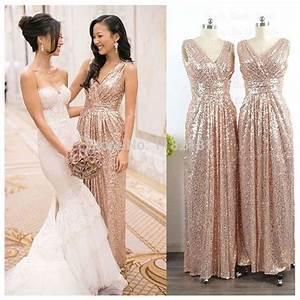 gold rose bridesmaid dress floor length v neckline sequins With robe de nuit de noce