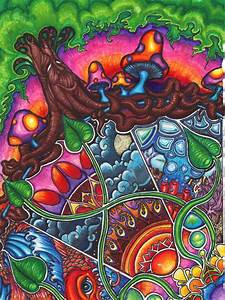 Art Colorful Shrooms Tree Trippy Image 48391 On
