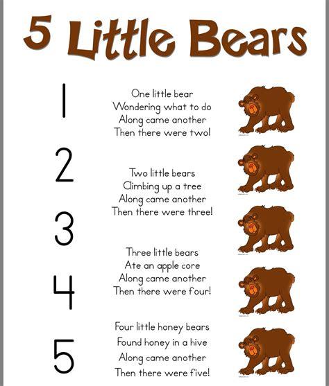 teddy bear songs preschool 5 bears poem preschool activities 336