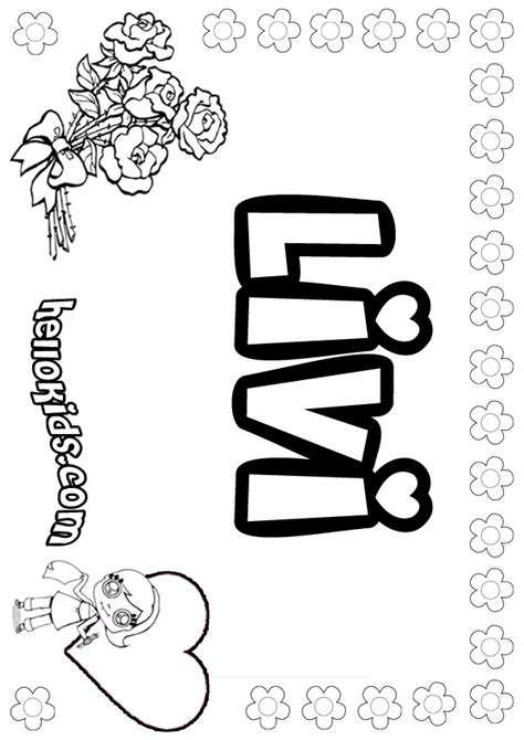 Coloring Names by Livi Coloring Pages Hellokids