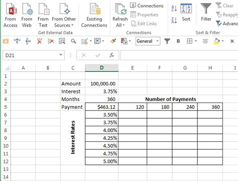 excel what if analysis data table create a variable payment table in excel excel bytes