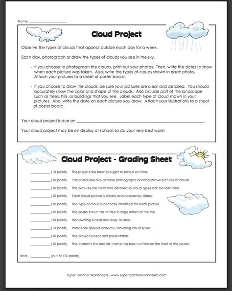 Super Teacher Worksheet Types Of Clouds  Kidz Activities
