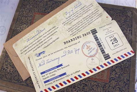 vintage air mail boarding pass wedding invitation new