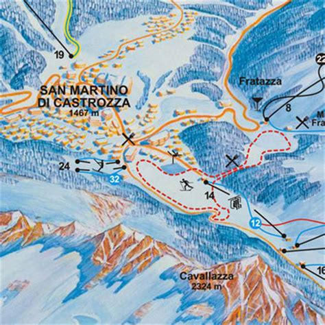 mappa impianti  cartina delle piste skirama san martino