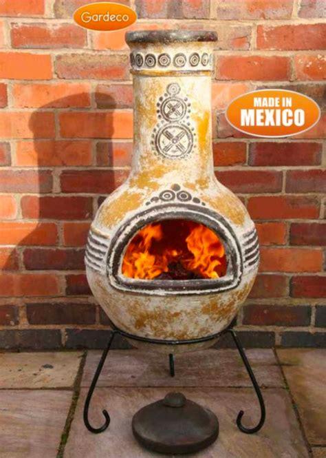 large azteca yellow mexican clay chimenea fireplace