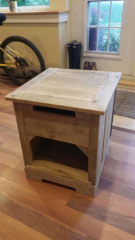 rustic pallet hardwood nightstand  pallets
