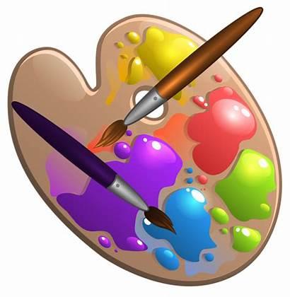 Paint Palette Clipart Brushes Clip Party Crafts