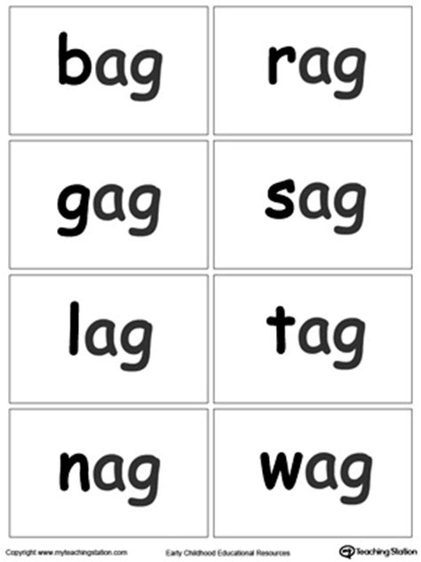 ag word family match letter and write the word ag word family flash cards myteachingstation 28059