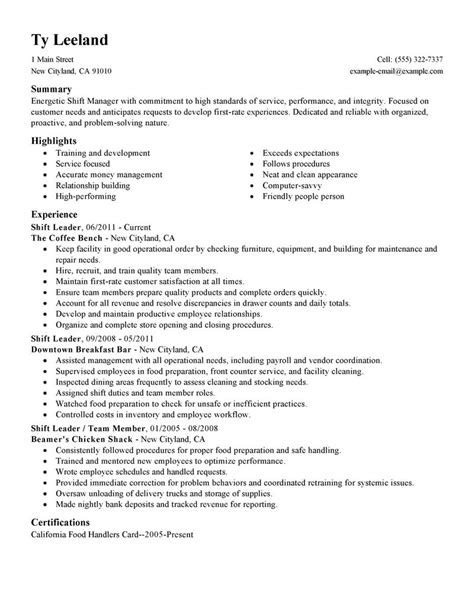 best hourly shift manager resume exle livecareer