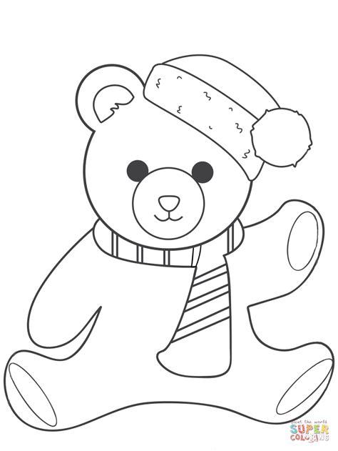 christmas teddy bear coloring page  printable