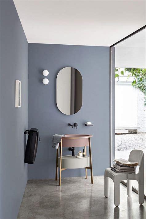 Salle De Bain Gris Bleu D 233 Co Salon Salle De Bains Moderne Bleu Gris Au Mur Et