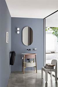 Deco Vieux Rose : d co salon salle de bains moderne bleu gris au mur et lavabo vieux rose ~ Teatrodelosmanantiales.com Idées de Décoration