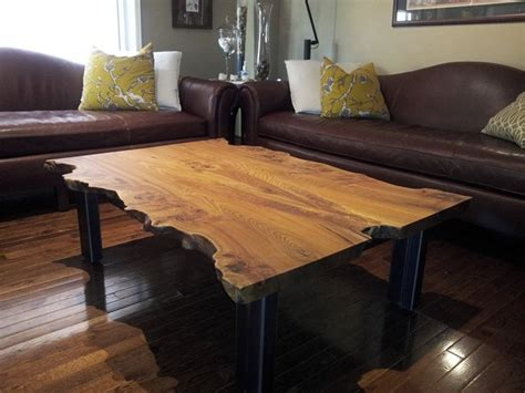 reclaimed elm live edge slab coffee table