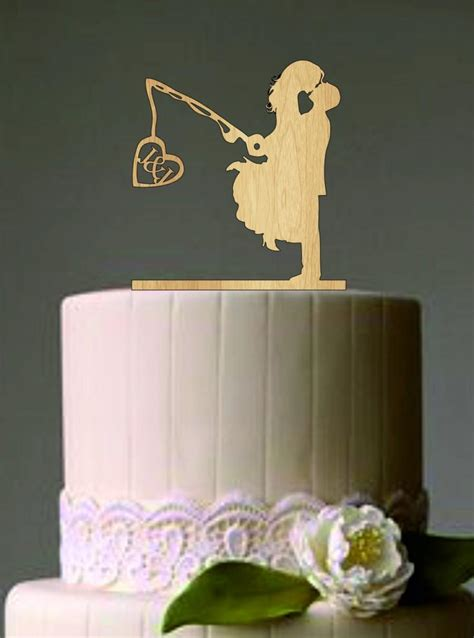 wedding cake topper with personalized unique wedding cake topper wedding fishing pole