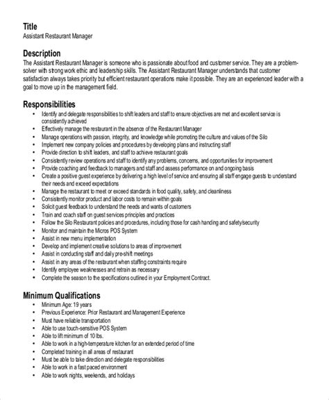 Assistant Restaurant Manager Resume Sles by Restaurant Manager Resume Sle Haadyaooverbayresort