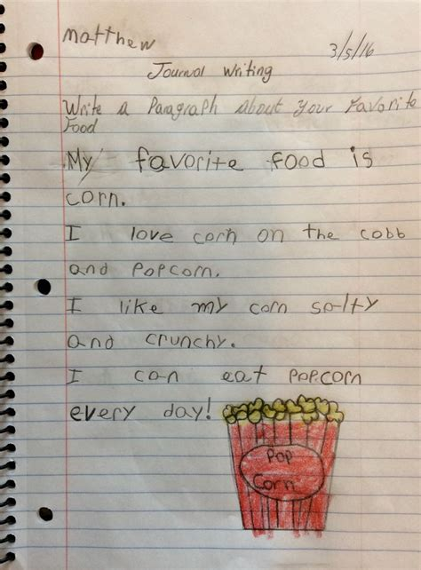 write  paragraph   favorite food writing