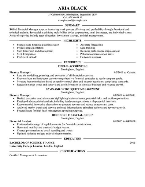 Manager Resume by 8 Amazing Finance Resume Exles Livecareer