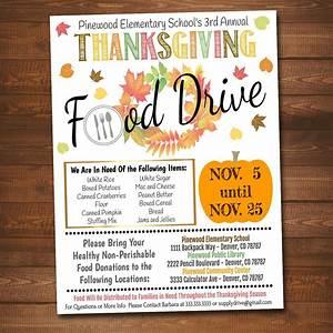 Christmas Invite Background Editable Fall Food Drive Flyer Printable Pta Pto Flyer