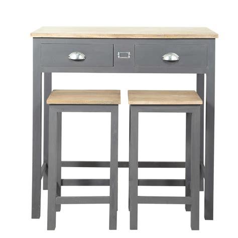 table haute de cuisine et tabouret table à manger haute et 2 tabourets gris l90 chablis