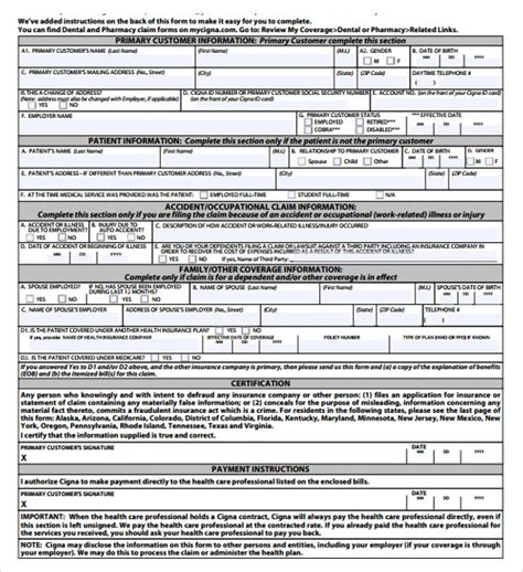 sample medical claim forms   documents