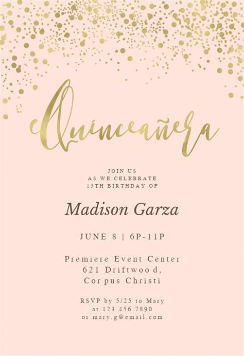 gold glitter  pink quinceanera invitation template