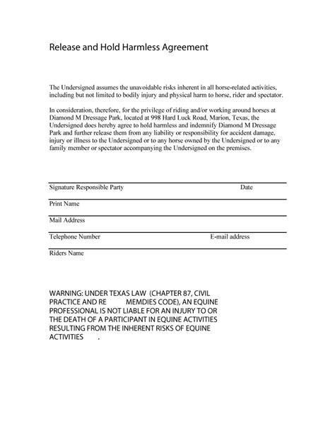 Hold Harmless Waiver Template by 41 Free Hold Harmless Agreement Templates Free Free