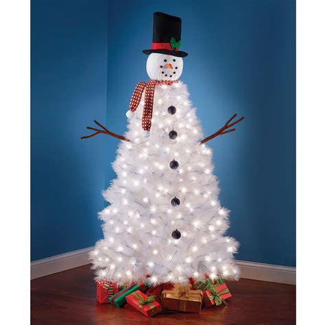 the illuminated snowman tree hammacher schlemmer