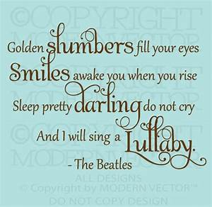 Wall decal nice golden slumbers wall decal wall hangings for Nice golden slumbers wall decal
