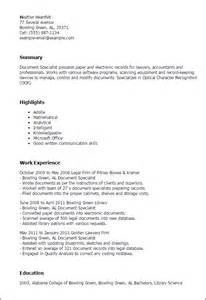 Document Specialist Resume Sle by Professional Document Specialist Templates To Showcase