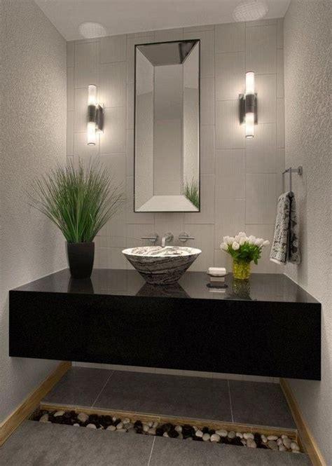 contemporary powder room  montauk black
