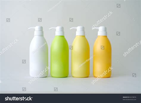 Four Blank Bottles Of Hair Products Stock Photo 83278876