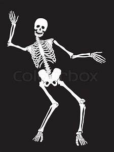 Funny Vector Skeleton Isolated Over Black  Halloween